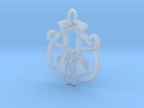 Monogram Initials AA.1 Pendant  in Smooth Fine Detail Plastic