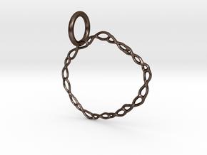 Vine Circle Pendant in Polished Bronze Steel