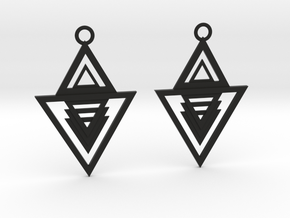 Geometrical earrings no.13 in Black Natural Versatile Plastic: Medium