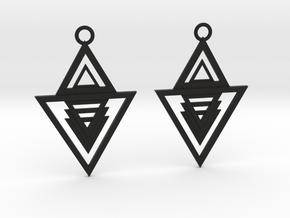 Geometrical earrings no.13 in Black Natural Versatile Plastic: Medium