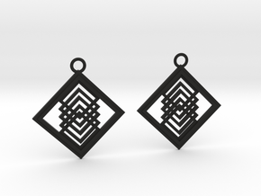 Geometrical earrings no.14 in Black Natural Versatile Plastic: Medium
