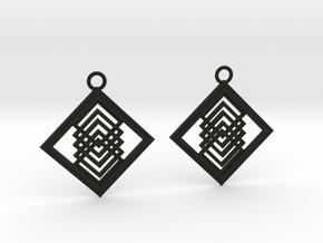 Geometrical earrings no.14 in Black Natural Versatile Plastic: Medium