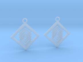Geometrical earrings no.14 in Smooth Fine Detail Plastic: Medium