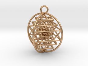 "3D Sri Yantra 4 Sided Symmetrical Pendant 1""  in Natural Bronze"