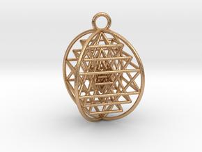 "3D Sri Yantra 4 Sided Symmetrical Pendant 1""  in Natural Bronze"