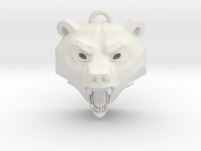 Bear Medallion (solid version) small in White Natural Versatile Plastic: Small