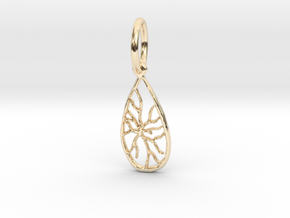 Tree Stone Pendant  in 14K Yellow Gold