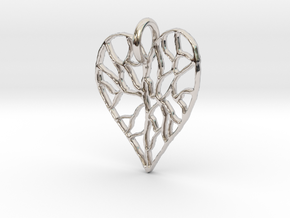 Cracked Heart Pendant in Rhodium Plated Brass