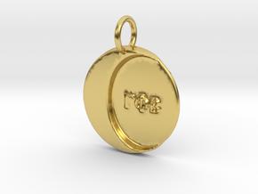 Gamma Phi Beta Sorority Pendant in Polished Brass