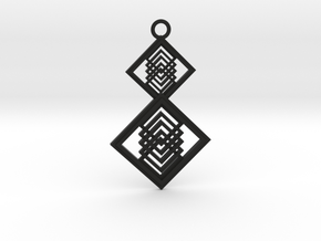 Geometrical pendant no.15 in Black Natural Versatile Plastic