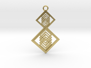 Geometrical pendant no.15 in Natural Brass