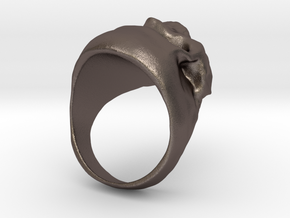 Skull Big Ring in Polished Bronzed-Silver Steel: 7.5 / 55.5
