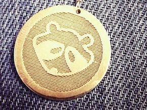 Ratty Raccoon™ pendant in Natural Brass