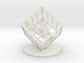 Customizable Name Plate trapped in a Lattice Cube in White Natural Versatile Plastic