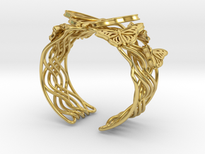 Butterflies in Love_Bracelet_M in Polished Brass