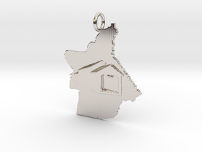 Butte-Honey Run Covered Bridge Pendant in Rhodium Plated Brass: Small