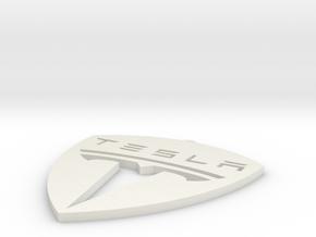Tesla Symbol Ornament in White Natural Versatile Plastic