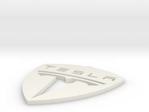 Tesla Symbol Ornament in White Natural Versatile Plastic