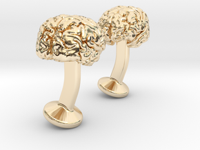 Brain Cufflinks in 14k Gold Plated Brass