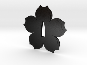 Tsuba sakura flower  in Matte Black Steel