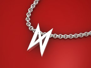 Dagaz rune small in Polished Silver