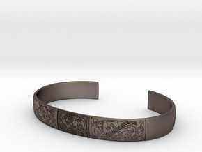 Broa Morif Cuff-L-engraved in Polished Bronzed-Silver Steel