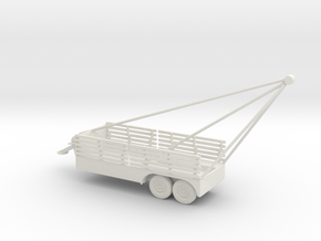 1/87 Scale 6x6 Jeep Cargo Trailer with Crane Exten in White Natural Versatile Plastic