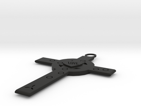 Heart and cross (necklace) in Black Natural Versatile Plastic