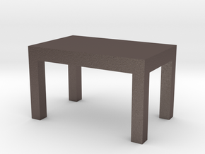 desk in Polished Bronzed-Silver Steel: Small