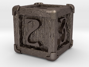 High Detailed Wood Dice with Numbers in Polished Bronzed-Silver Steel: Small