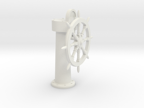 Ships wheel and post 1/12 in White Natural Versatile Plastic