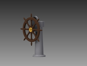 Ships wheel and post 1/12 in Smooth Fine Detail Plastic
