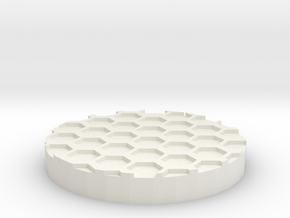 "Hex Grid 1"" Circular Miniature Base Plate in White Natural Versatile Plastic"