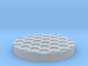 "Hex Grid 1"" Circular Miniature Base Plate in Smooth Fine Detail Plastic"