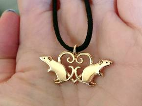 Double rat love heart pendant in Polished Bronze