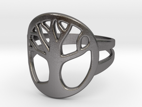 Tree of Life Ring in Polished Nickel Steel