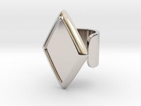 Black Rhombus Cosplay Ring (Club Scene) in Rhodium Plated Brass: 1.5 / 40.5