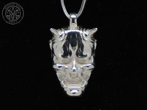 Hannya Pendant in Polished Silver