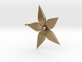 Flower Pendant in Polished Gold Steel