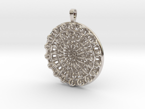 Circular Flower in Rhodium Plated Brass