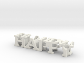 3dWordFlip: happy/birthday in White Natural Versatile Plastic