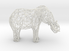 Wireframe Elephant XXL in White Natural Versatile Plastic