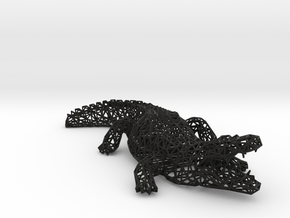 Wireframe crocodile in Black Natural Versatile Plastic