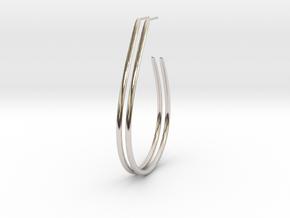 Teardrop Hoop Earrings in Rhodium Plated Brass