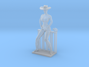 Cowgirl Sitting on Small Fence (28mm Scale Miniatu in Smooth Fine Detail Plastic