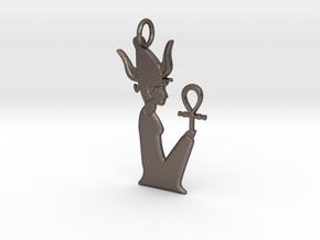 Satet / Satis amulet in Polished Bronzed-Silver Steel