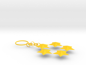 Key Ring Of Star in Yellow Processed Versatile Plastic