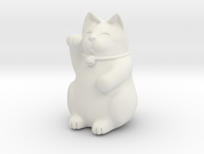Maneki Neko Sculpture in White Natural Versatile Plastic