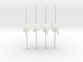 P-51 Mustang propeller x4 1/100 in White Natural Versatile Plastic: 1:100