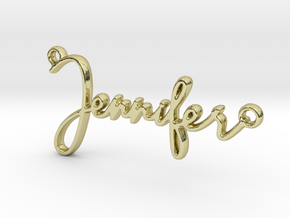 Jennifer Script First Name Pendant in 18k Gold Plated Brass